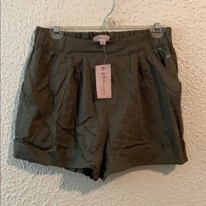 NWT Philosophy Dark Green Silky Shorts